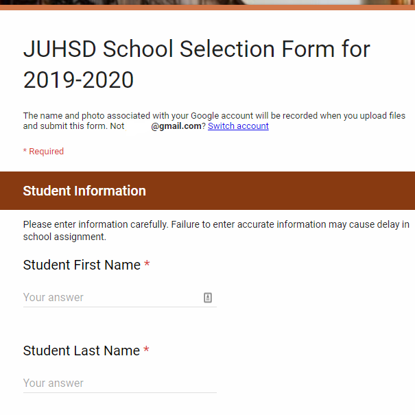 Select A JUHSD School Now