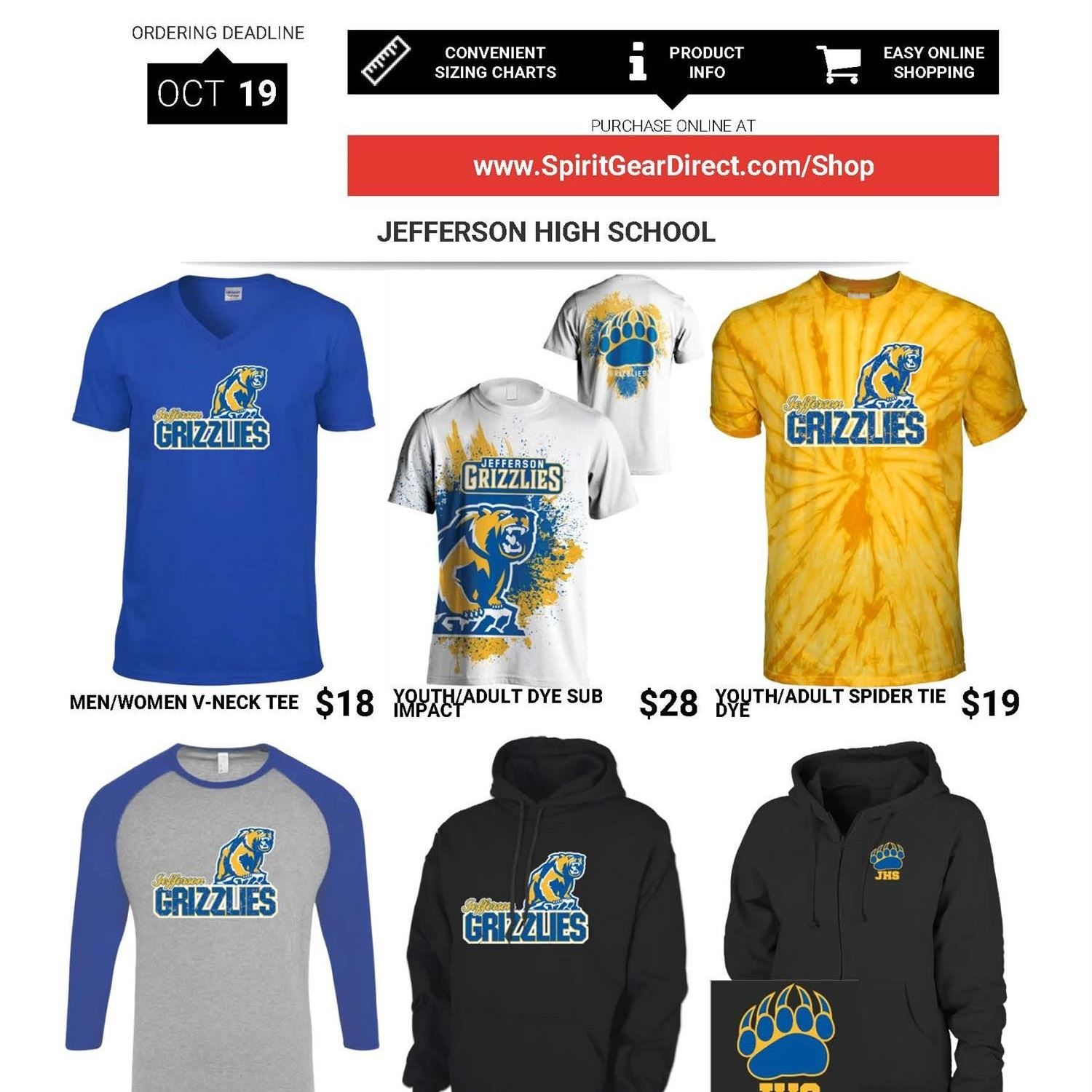 Order your Grizzly Gear ONLINE NOW!