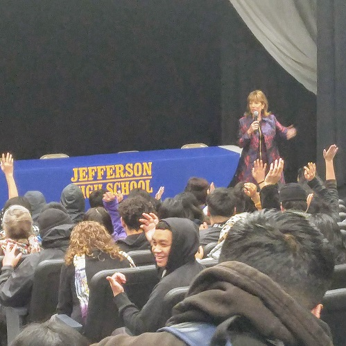 Rep Jackie Speier connects and Inspires Jefferson Seniors
