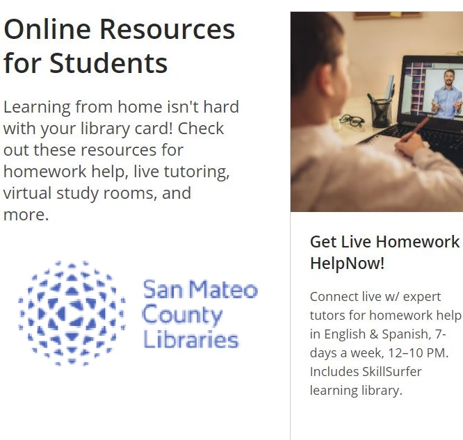 Free On-line Tutoring from San Mateo County Libraries